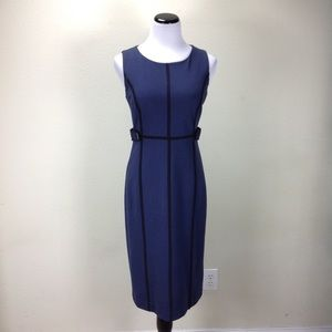 Boden Blue & Black Sleeveless Fitted Sheath Dress